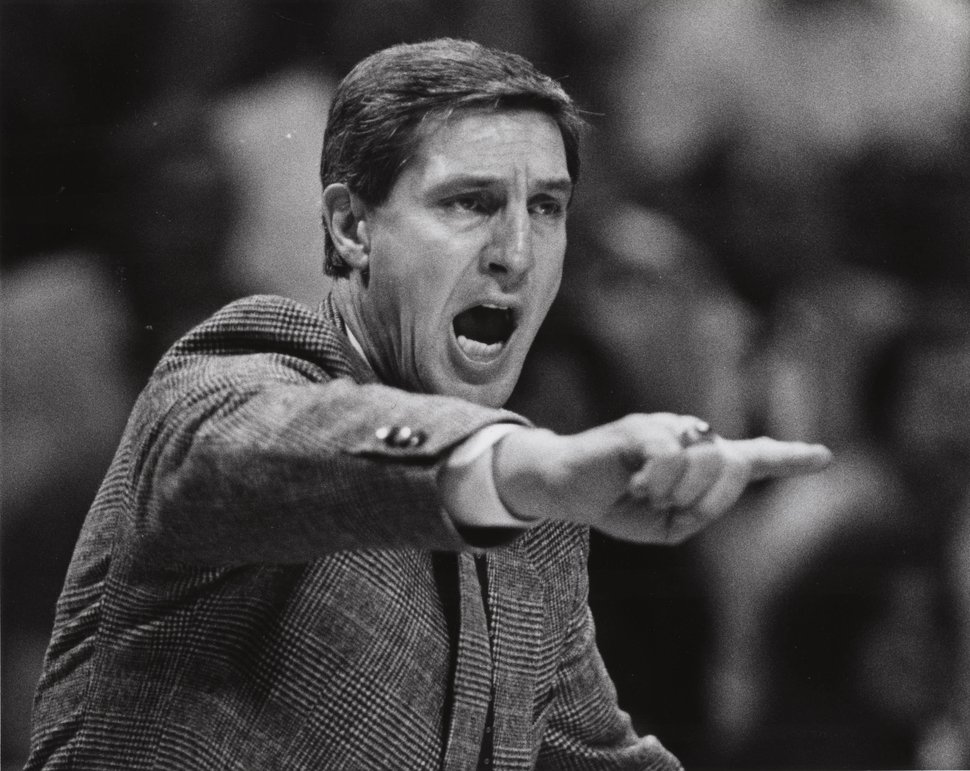 (Steve Griffin | Tribune file photo) Jerry Sloan yells support form the bench in his first quarter as head coach of the Utah Jazz in 1988.
