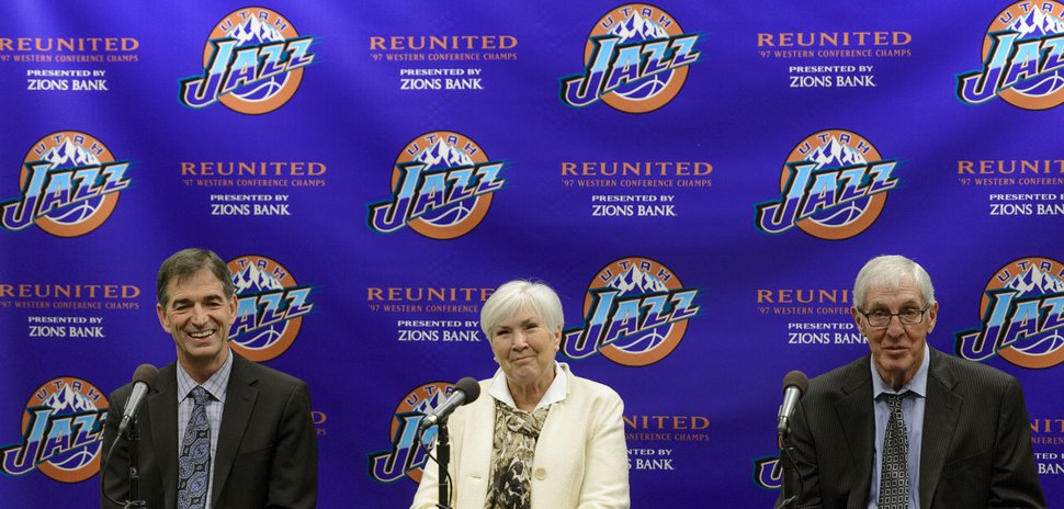 (Steve Griffin | Tribune file photo) John Stockton, Gail Miller and Jerry Sloan talk about their memories of the 1997 historic season during a press conference at Vivint Smart Home Arena in Salt Lake City, Wednesday, March 22, 2017.