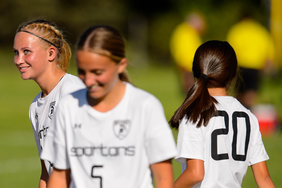 (Trent Nelson | The Salt Lake Tribune) Murray High School soccer player Sophie Post, at left, in a game vs. Cottonwood on Thursday Sept. 12, 2019.