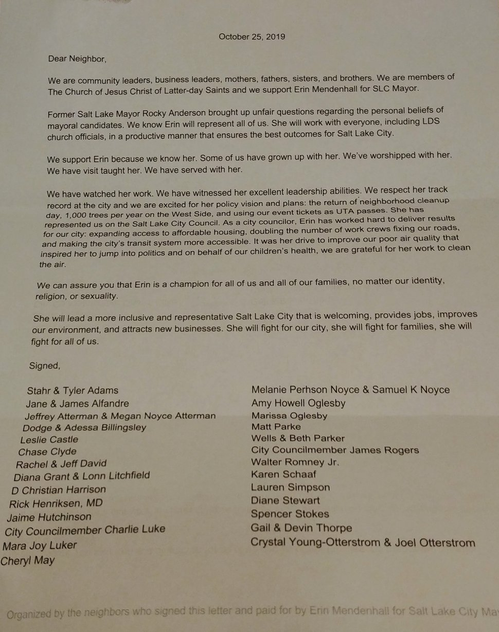 (Courtesy photo) Several Salt Lake City residents received this letter from the Erin Mendenhall campaign. Mendenhall is a candidate for Salt Lake City mayor. The letter supports her and is signed by several political activists, city council members and business leaders.