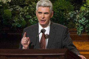 (Rick Egan     The Salt Lake Tribune)  Bishop Gérald Caussé speaks during the 187th Annual LDS General Conference at the Conference Center in Salt Lake City, Saturday, April 1, 2017.