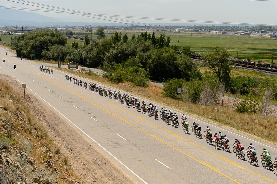 Trent Nelson | The Salt Lake Tribune The peloton enters Weber County at Rocky Point during the Tour of Utah's second stage, Tuesday August 4, 2015.
