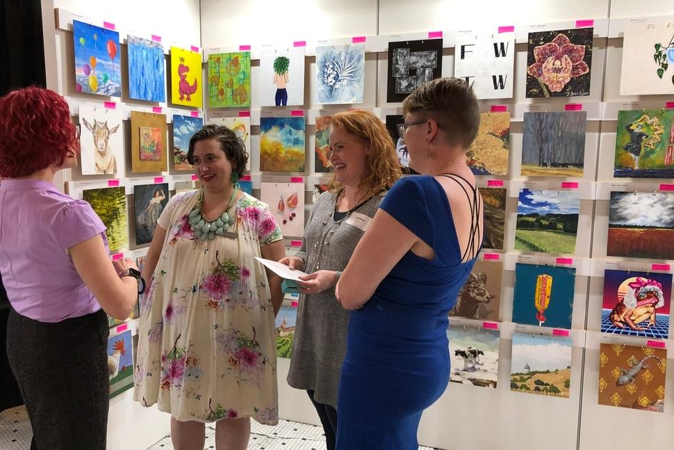 (photo courtesy Kerry Carlson) Shari Lyon, Art Access Executive Director Shandra Benito, Beki Tobiasson, and Misty Penman attend 2019's Art Access auction.