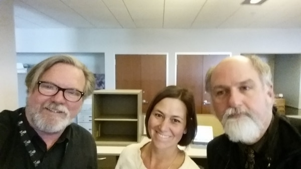 (Photo courtesy of Michelle Quist.) Pat Bagley, Michelle Quist and George Pyle on Quist's first day as a writer of The Tribune's editorial section, April 10, 2017.