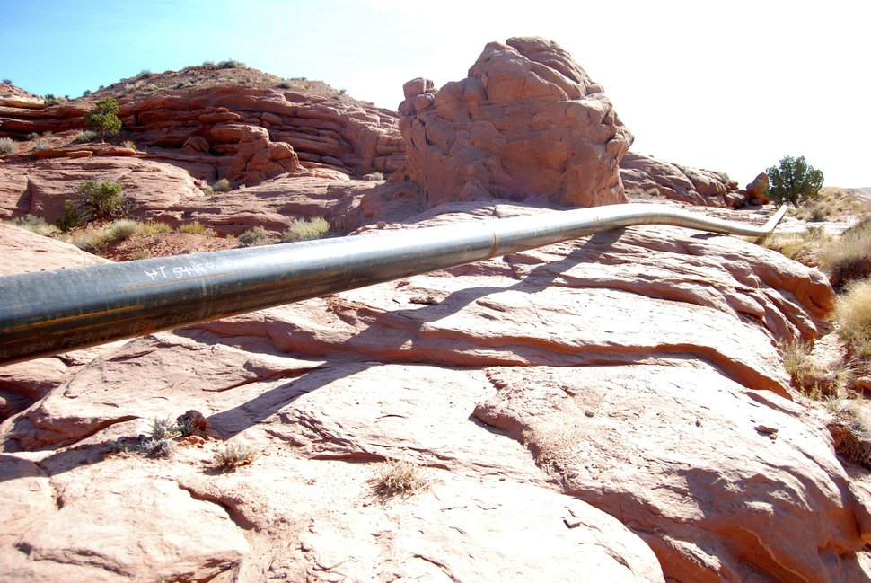 Tribune file photo Brian Maffly Fidelity Exploration and Production Co. installed this pipeline in 2014 on Big Flat, a scenic recreational area outside Moab, to capture natural gas that was being flared. This 25-mile lateral line, which connects to 19 well pads and a 26-mile network of gathering lines, runs above ground on top of rock and across washes, raising safety concerns.
