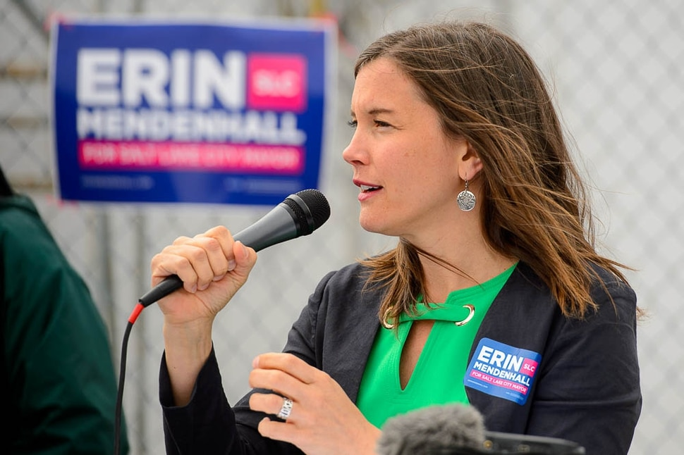 (Trent Nelson | The Salt Lake Tribune) Salt Lake City Councilwoman Erin Mendenhall launches her campaign for mayor on Sunday April 14, 2019. She enters the race with six years of council experience serving the city's Ballpark, Central City, Central 9th, East Liberty Park, Liberty Wells and Wasatch Hollow communities. She has a background in the nonprofit sector, working previously with the clean-air advocacy group Breathe Utah as its policy director and interim executive director.