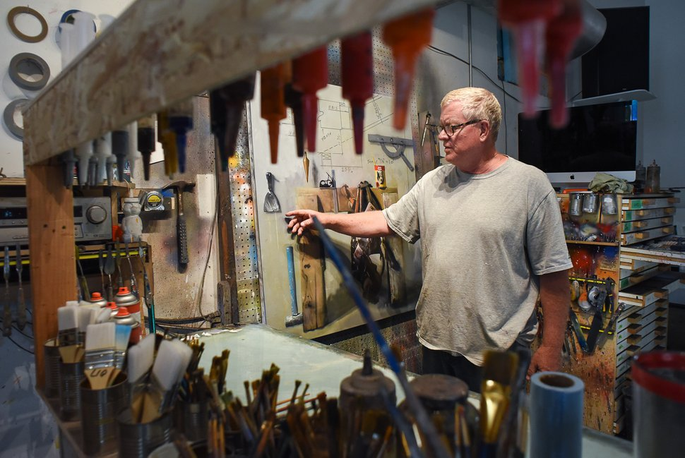 (Francisco Kjolseth | Tribune file photo) Artist Dave Dornan talks about a commissioned oil painting in process in his studio along Main Street Helper in August 2019. The former University of Utah art professor opened an art school in Helper and some of his students bought studios along Main Street.