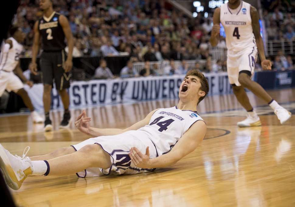 Chris Detrick | The Salt Lake Tribune Northwestern Wildcats forward Gavin Skelly (44) celebrates a basket during first round of the NCAA Tournament in Salt Lake City on Thursday, March 16, 2017.