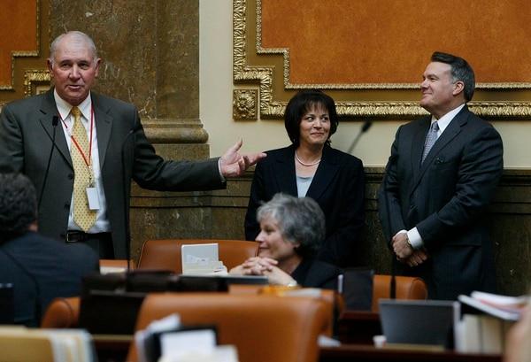 Scott Sommerdorf l The Salt Lake Tribune Rep. Bill Wright (R; Holden) left, introduces former Speaker Marty Stephens (far right),as current Speaker Becky Lockhart listens in the House of Representatives, Thursday, Jan. 27, 2011.