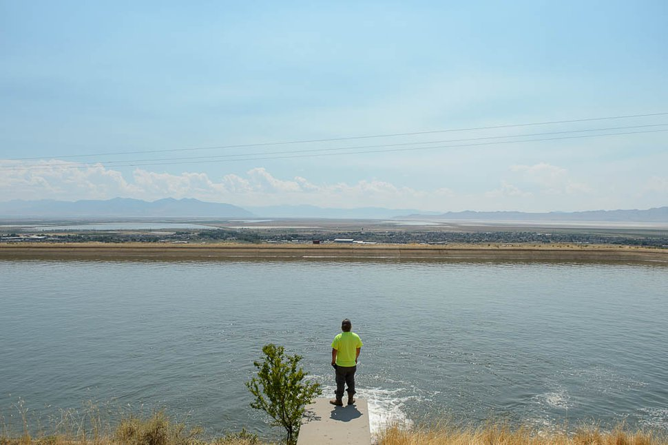 (Trent Nelson | The Salt Lake Tribune) Andy Golden of Benchland Water District at Reservoir B in Farmington, Wednesday July 25, 2018. The reservoir typically holds between 15 and 20 million gallons of water.