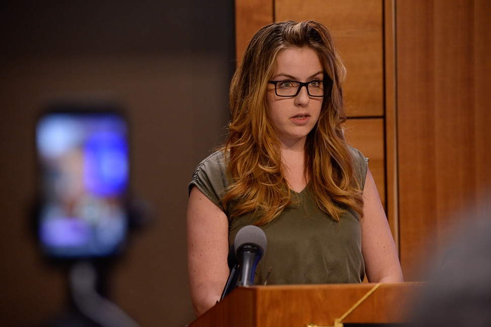 (Francisco Kjolseth | The Salt Lake Tribune) Juliana Cawley, friend of missing 23-year-old Mackenzie Lueck, reads a prepared statement at the Public Safety Building in Salt Lake City on Tuesday, June 25, 2019.
