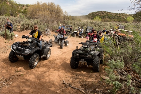(Trent Nelson | The Salt Lake Tribune) In a 2014 protest, notorized vehicles cross into a restricted area of Recapture Canyon, which has been closed to motorized use since 2007, after a call to action by San Juan County Commissioner Phil Lyman.