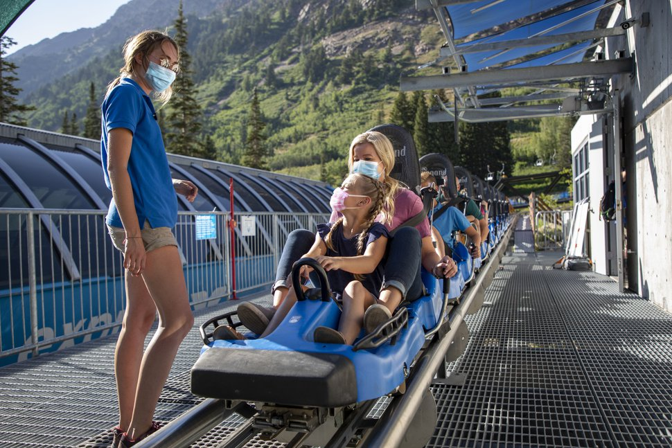 (Photo courtesy of Snowbird/Adam Barker Photography) Snowbird opened its summer operations, including the mountain coaster, June 13, 2020. It was one of the first Utah resorts to open since COVID-19 forced an abrupt end to the season in mid-March. To protect against the spread of the virus, the entire coaster and all alpine slide sleds will be disinfected after each ride and employees are required to wear masks.