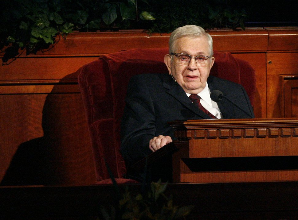 Scott Sommerdorf | The Salt Lake Tribune President Boyd K. Packer, of the Quorum of the Twelve, speaks from his chair at the 182nd annual General Conference of The Church of Jesus Christ of Latter-day Saints, Saturday, March 31, 2012. His talk included thoughts about the family and abortion.