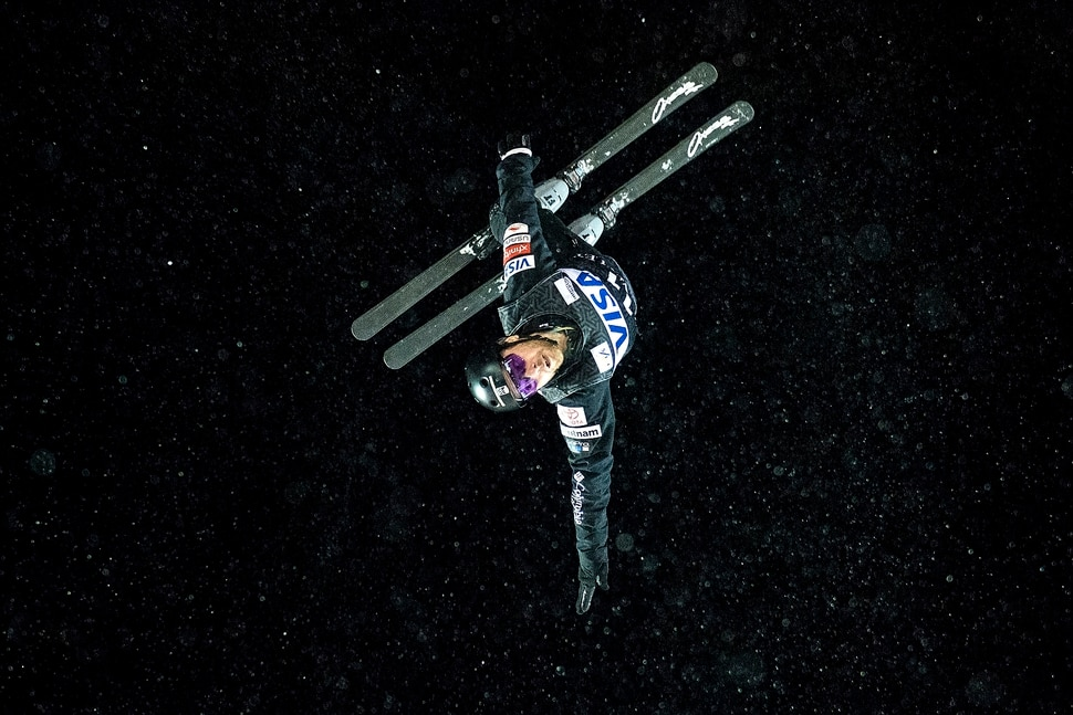 (Chris Detrick | The Salt Lake Tribune) USA's Jonathon Lillis (11) competes in the Men's Aerial Finals during the FIS Visa Freestyle International Ski World Cup at Deer Valley Resort Friday, January 12, 2018. Lillis finished in sixth place with a score of 72.85.