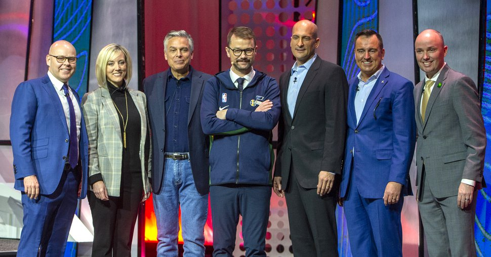 (Rick Egan | The Salt Lake Tribune) From left, Utah gubernatorial candidates, Jeff Burningham, Aimee Winder Newton, Jon Huntsman, Thomas Wright, Greg Hughes and Spencer Cox pose for a group photo with Silicon Slopes Executive Director Clint Betts, center, after a debate at the 2020 Silicon Slopes Tech Summit convention, at the Salt Palace Convention Center, Friday, Jan. 31, 2020.