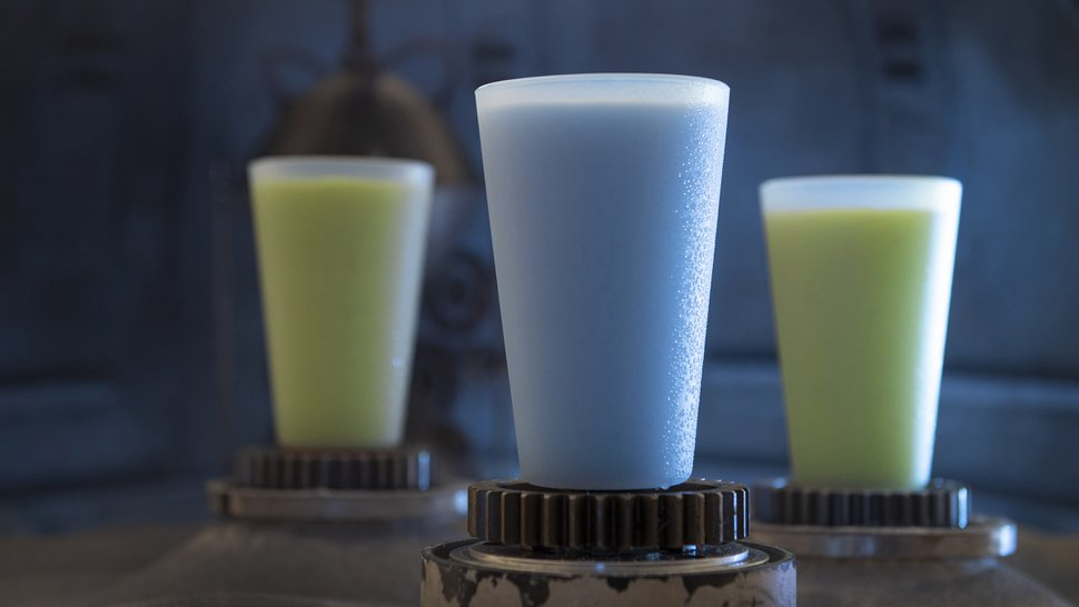(Photo courtesy David Roark, Disney Parks) Guests will discover innovative and creative beverages from around the galaxy at Star Wars: GalaxyÕs Edge at Disneyland Park in Anaheim, California, and at Disney's Hollywood Studios in Lake Buena Vista, Florida. Blue Milk and Green Milk can be found at the Milk Stand.