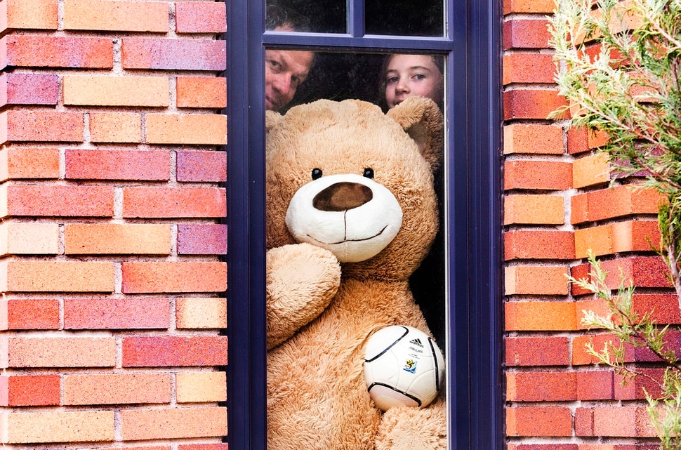 (Rick Egan | The Salt Lake Tribune) Christiaan O'Connor and his 10-year-old daughter Caitrin, put a bear in the window of their Salt Lake City home for kids to see when they are Going on a Bear Hunt, looking for stuffed animals in windows of neighborhood houses, as an outdoor activity and distraction during COVID-19. Wednesday April 15, 2020