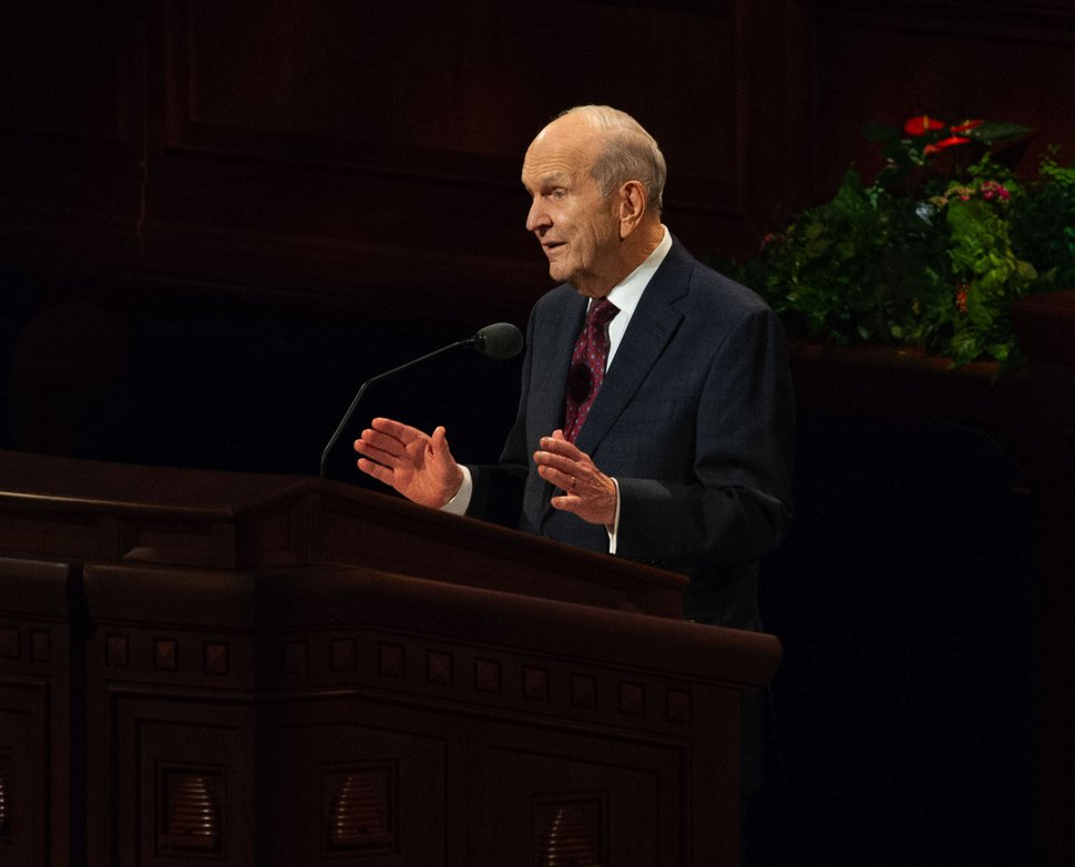 (Keith Johnson | Special to The Tribune) President Russell M. Nelson speaks during the concluding session of the 188th Semiannual General Conference of The Church of Jesus Christ of Latter-day Saints on Oct. 7, 2018, in Salt Lake City.