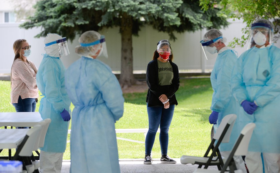 (Francisco Kjolseth | The Salt Lake Tribune) The Utah Department of Health readies staff of of a long-term care center for testing of the coronavirus on Thursday, May 21, 2020.