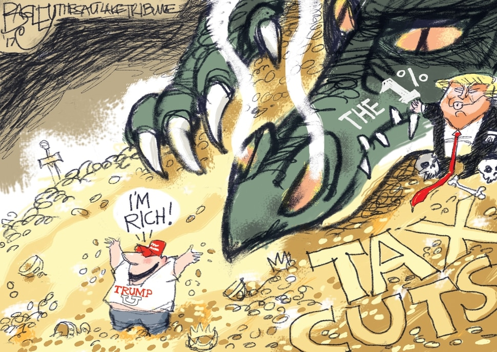 (Pat Bagley | The Salt Lake Tribune) This Pat Bagley cartoon, titled Dragon's Tax Horde, appears in The Salt Lake Tribune on Thursday, Nov. 9, 2017.