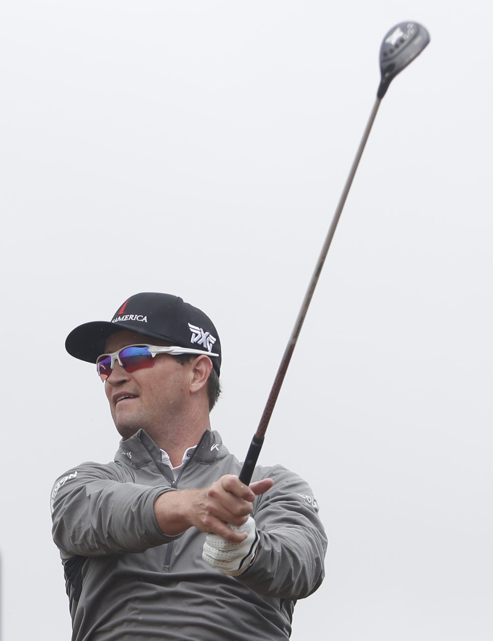 Two-time major winner Zach Johnson of Iowa plays off the 17th tee during the second round of the British Open Golf Championship in Carnoustie, Scotland, Friday July 20, 2018. (AP Photo/Alastair Grant)