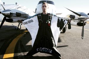 (Photo courtesy Wall family) David Wall wears a wingsuit in this 2016 photo. Wall died in a crash Sept. 10, 2020, in Switzerland. He was 34.