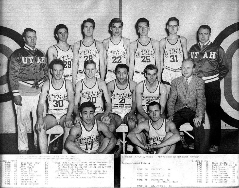 (Tribune file photo) A team photograph of the 1944 Utah men's college basketball team, which won the 1944 national championship. Wat Misaka (21) is on the second row in the center.