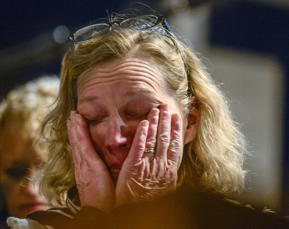 Leah Hogsten | The Salt Lake Tribune Congregation Kol Ami cantor Wendy Bat-Sarah wipes tears from her eyes during a vigil and prayer service at Congregation Kol Ami, Tuesday, Oct. 30, 2018 for the 11 people killed at the Tree of Life Synagogue in Pittsburgh.