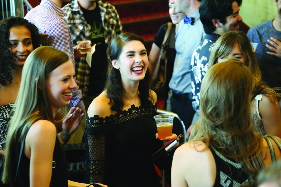 (Kelli Bramble | Courtesy of Ballet West) Bethanne Sisk, center, a principal dancer in Ballet West's troupe, talks with patrons at a recent Beer+Ballet event. The next edition of the event is set for Friday, Nov. 1, 2019, at the Capitol Theatre.