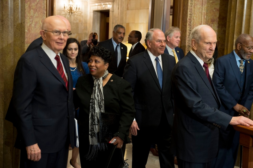 (Jeremy Harmon | The Salt Lake Tribune) President Russell M. Nelson enters the room with NAACP leaders and other LDS Church leaders during an event on May 17, 2018, where the two groups discussed the need for greater civility and called for an end to prejudice.