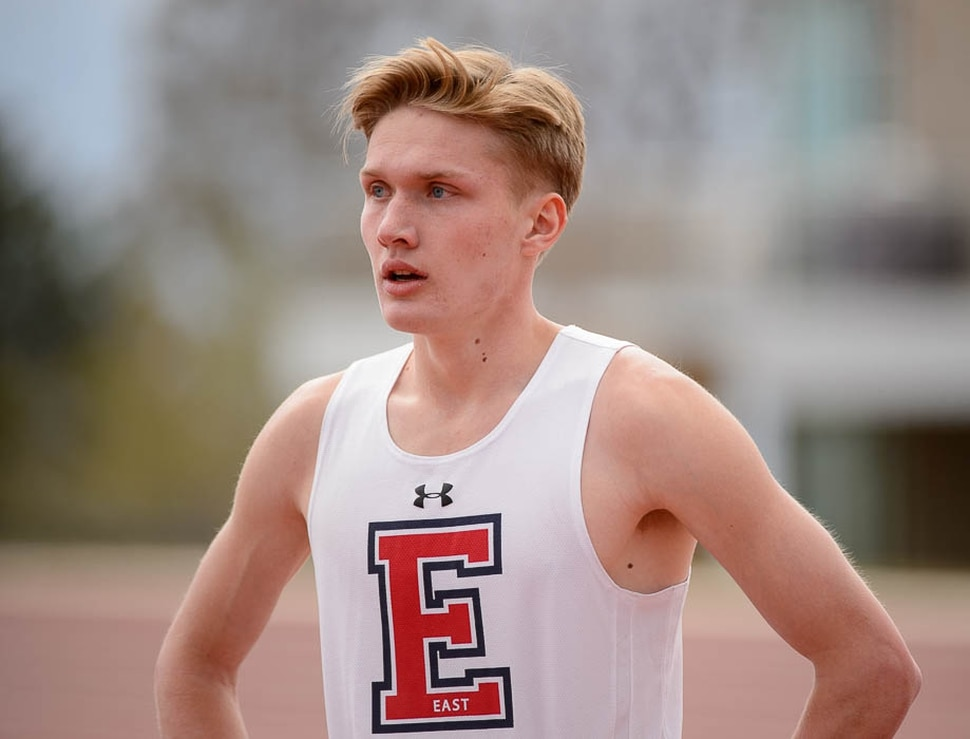 (Trent Nelson | The Salt Lake Tribune) East track star Will Prettyman, one of the state's best long jumpers and sprinters, competing in the 100m, Thursday April 5, 2018.