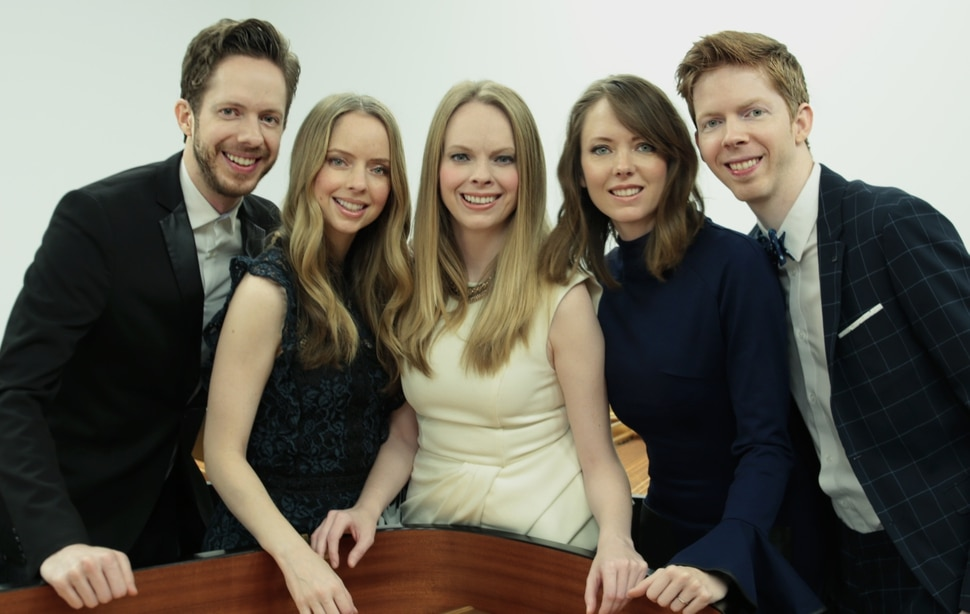 (Casey Welch | photo courtesy of The 5 Browns) The Utah-raised piano quintet The 5 Browns — from left: Gregory, Desirae, Deondra, Melody and Ryan — are releasing their first album of holiday music, Christmas With the 5 Browns, on Friday, Nov. 1, 2019.