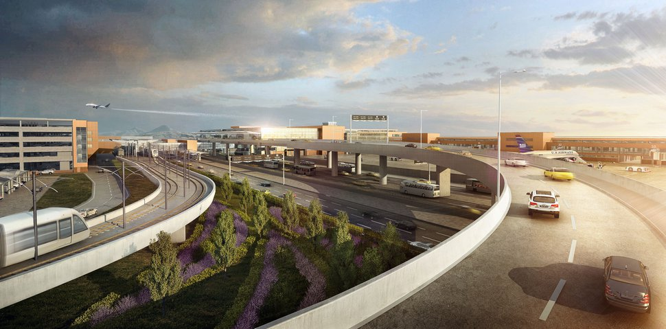 (Courtesy of Salt Lake City International Airport) A rendering of the airport's proposed Terminal Drive, with the Utah Transit Authority's elevated TRAX train seen at left turning toward the airport's