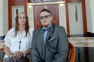 (Francisco Kjolseth     Tribune file photo)  Two transgender Utahns, who have been denied a legal sex designation by a state judge, are challenging the ruling by asking the Utah Supreme Court to overturn the decision. Angie Rice and Sean Childers-Gray, pictured on Friday, June 30, 2017, hope the Utah Supreme Court overrules the district court and grants their petitions.