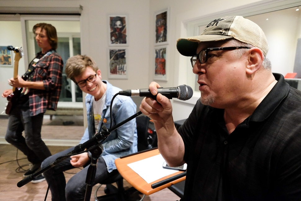 (Francisco Kjolseth | The Salt Lake Tribune) Steve Auerbach, Executive Director of MusicGarage.org, belts out some blues as he encourages his students to learn more than just rock and roll during a recent session in the after school program in Sugarhouse on Monday, May 20, 2019.
