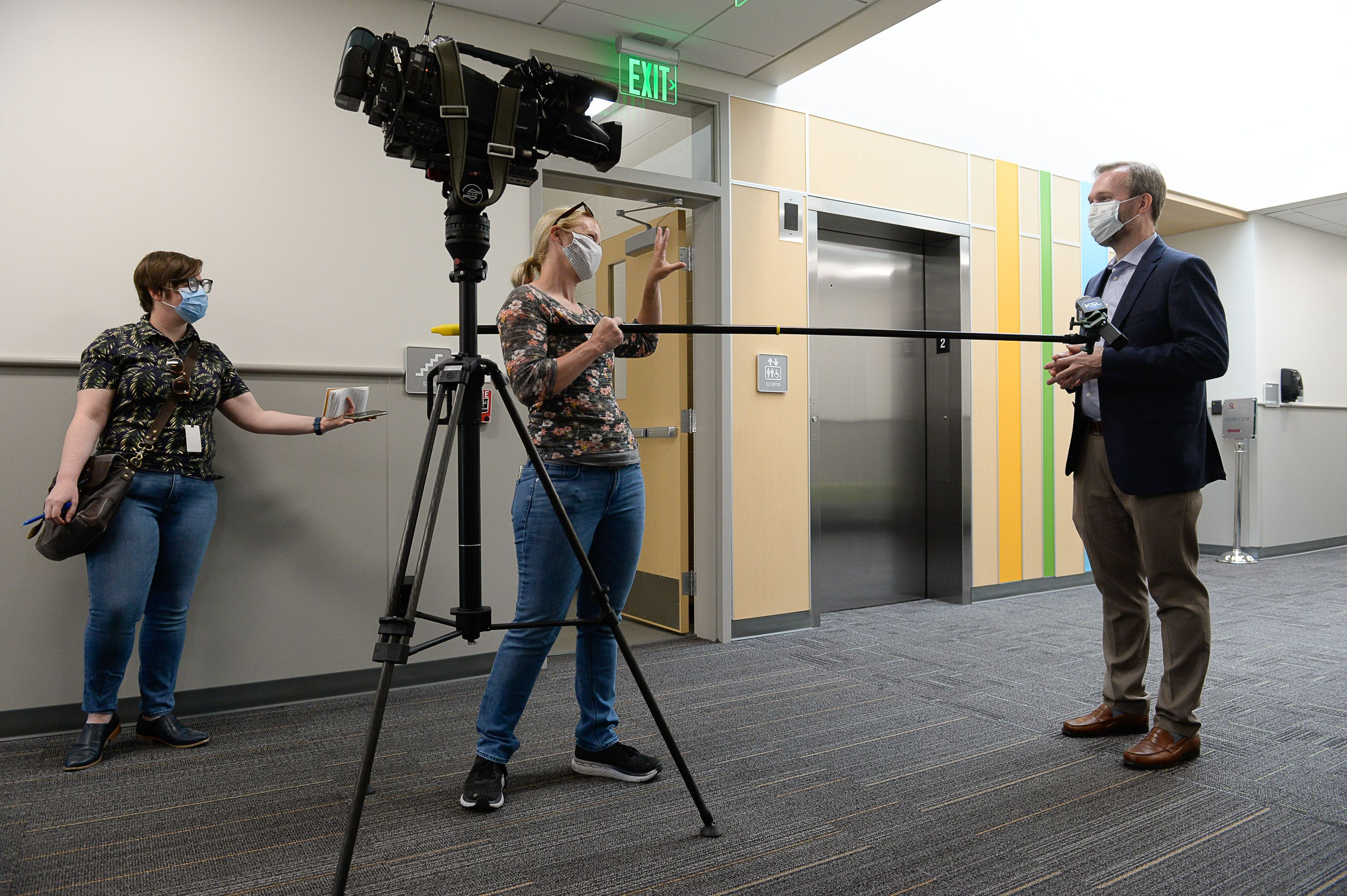 (Francisco Kjolseth     The Salt Lake Tribune) Congressman Ben McAdams, D-Utah, is interviewed by the media as he visits the Salt Lake County Public Health Center on Tuesday, April 28, 2020, to thank employees who are producing vital data about the source of the county's COVID-19 infections and how it may have spread among county residents. As of last week, the county had reached at least 10,000 people who have had contact with one of the 1,900 confirmed coronavirus cases.
