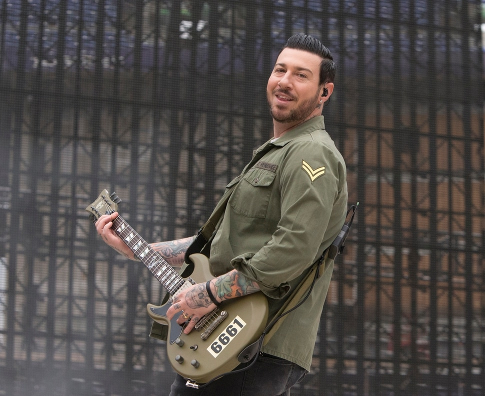 (Photo by Owen Sweeney/Invision/AP) Guitarist Zacky Vengeance of Avenged Sevenfold (shown performing at M&T Bank Stadium on Wednesday, May 10, 2017, in Baltimore), said the band's challenge is to figure out, How do you create something that will last and stick with somebody for a lifetime? Something that's beautiful, something that's artistic?