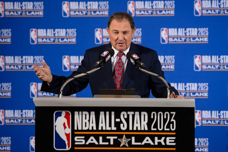 (Trent Nelson | The Salt Lake Tribune) Utah Governor Gary Herbert speaks as the Utah Jazz and NBA announce that Salt Lake City will host the 2023 NBA All-Star Game at a news conference on Wednesday Oct. 23, 2019.