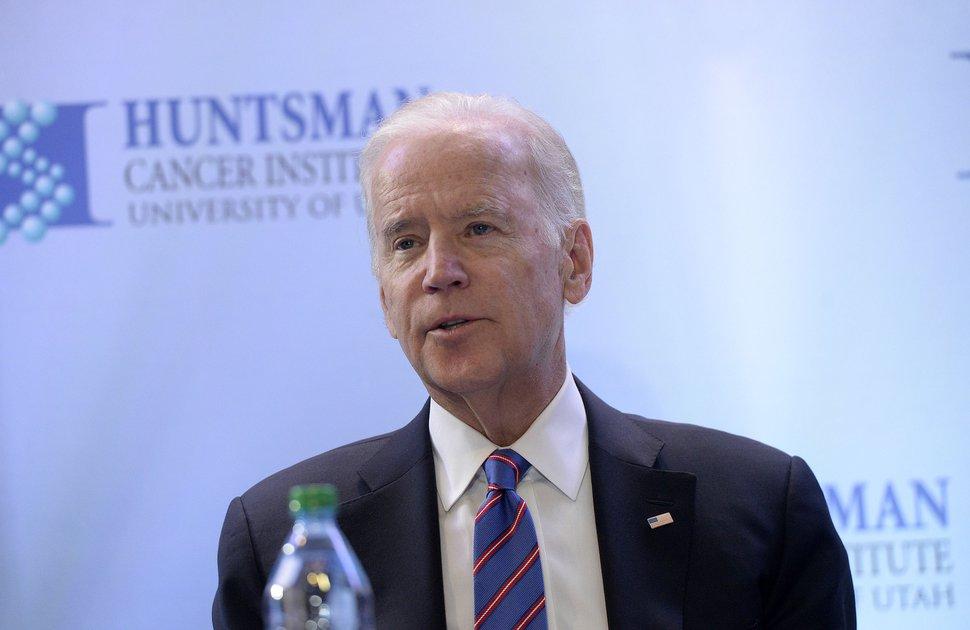 (Al Hartmann | Tribune file photo) Former Vice President Joe Biden speaks at a roundtable discussion after touring the Huntsman Cancer Center in Salt Lake City on Feb. 26, 2017.