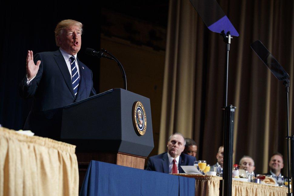 (Evan Vucci   AP Photo) President Donald Trump speaks during the National Prayer Breakfast, Thursday, Feb. 8, 2018, in Washington.