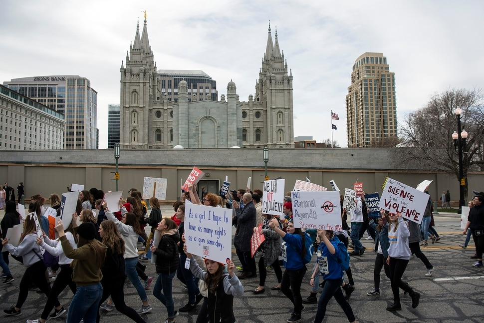 (Chris Detrick | The Salt Lake Tribune) Participants march from West High School to the state Capitol during the March for Our Lives SLC Saturday, March 24, 2018. The student-led March for Our Lives SLC got underway about 11:30 a.m. with what police estimated were 8,000 participants walking from Salt Lake CityÕs West High School to the front steps of the state Capitol.