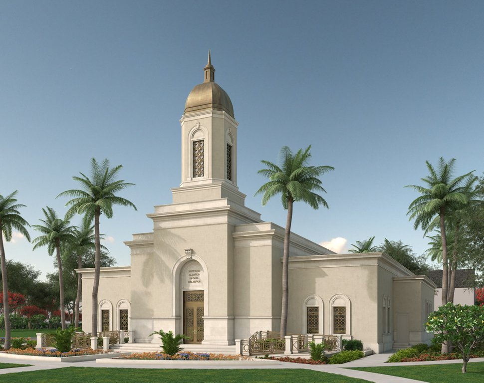 (Rendering courtesy of The Church of Jesus Christ of Latter-day Saints) Cobán Guatemala Temple.