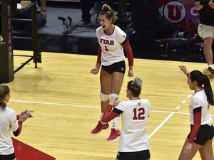 (Scott Sommerdorf   |  The Salt Lake Tribune)   Utah's Dani Barton jumps as she celebrates the winning match point to give Utah the win over Purdue. Utah beat Purdue three sets to one in the second round of the NCAA volleyball tournament, Friday, December 1, 2017.