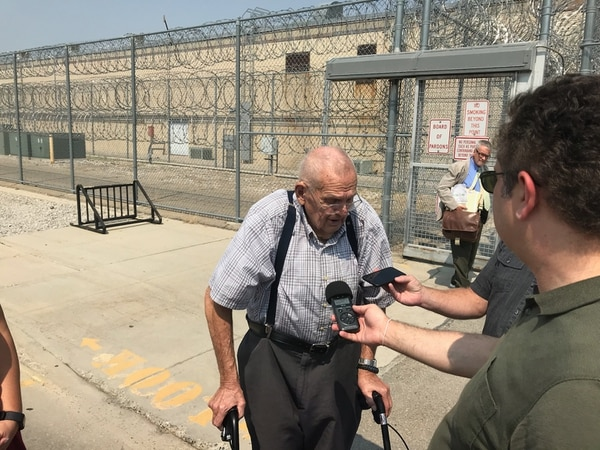 Photo by Nate Carlisle, The Salt Lake Tribune | Rod Lund, 87, speaks to reporters after the July 31, 2018, parole hearing for Jason Scott Pearson. Pearson in 1993 shot and killed Lund's son, UHP Trooper Dennis