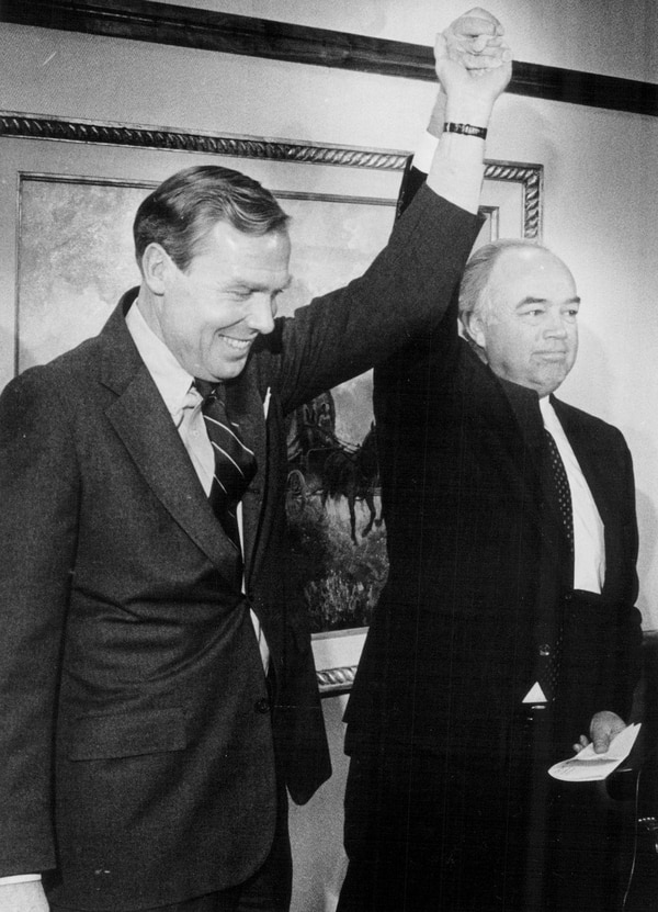 (Tribune file photo) Jon Huntsman and Norm Bangerter are seen in this undated photo.