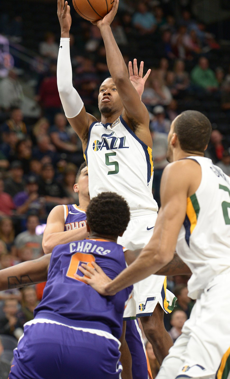(Leah Hogsten | The Salt Lake Tribune) Utah Jazz guard Rodney Hood (5) shoots over the Phoenix defense. The Utah Jazz defeated the Phoenix Suns 112-101 during preseason NBA basketball at Vivint Smart Home Arena in Salt Lake City, October 6, 2017.