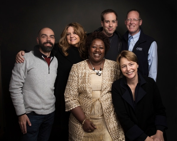 Director Pedro Kos, from left, producer Cori Stern, Dr. Agnes Binagwaho, Director Kief Davidson, Dr. Paul Farmer and Ophelia Dahl pose for a portrait to promote the film,