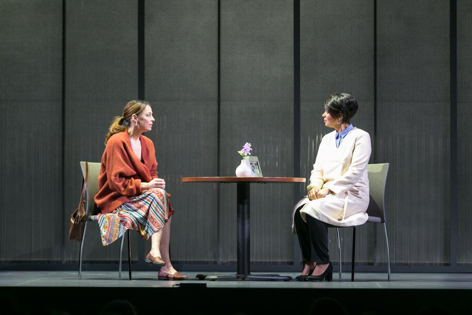 (Photo courtesy of Pioneer Theatre Company) | Kathleen McElfresh as Sarah and Nafeesa Monroe as her doctor in playwright Jeff Talbott's