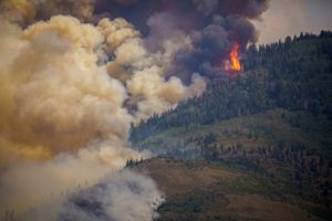 (Trent Nelson   The Salt Lake Tribune) The Parleys Canyon Fire burns, as seen from Emigration Canyon on Saturday, Aug. 14, 2021.